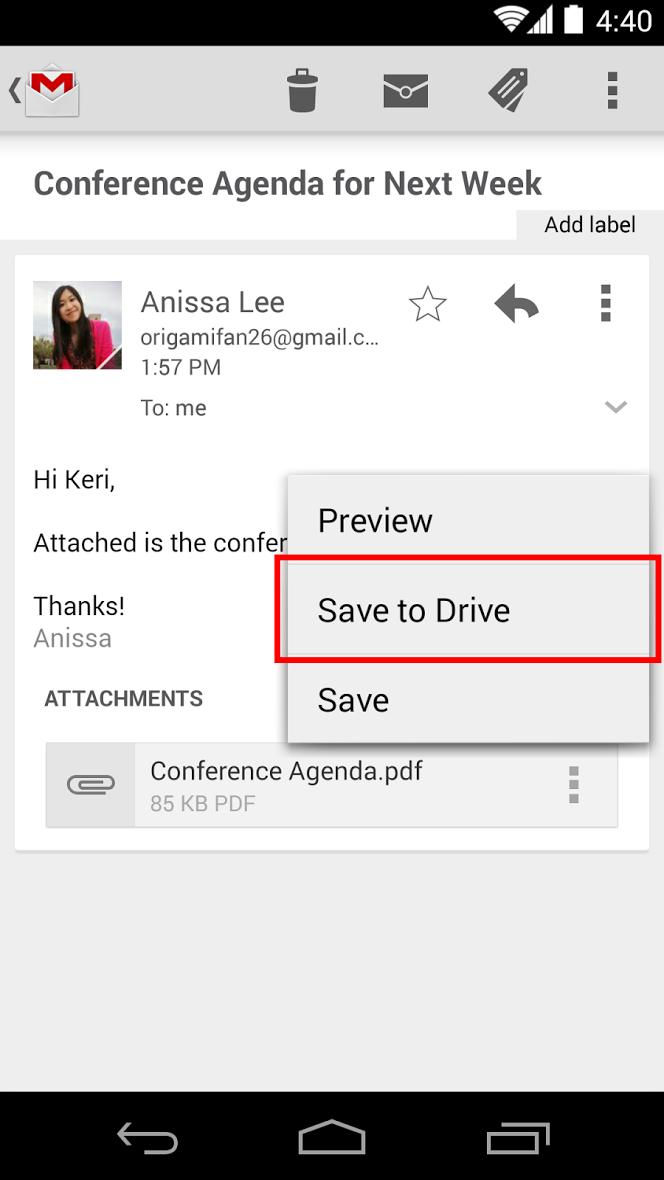 Gmail update: opslaan op Google Drive en andere verbeteringen