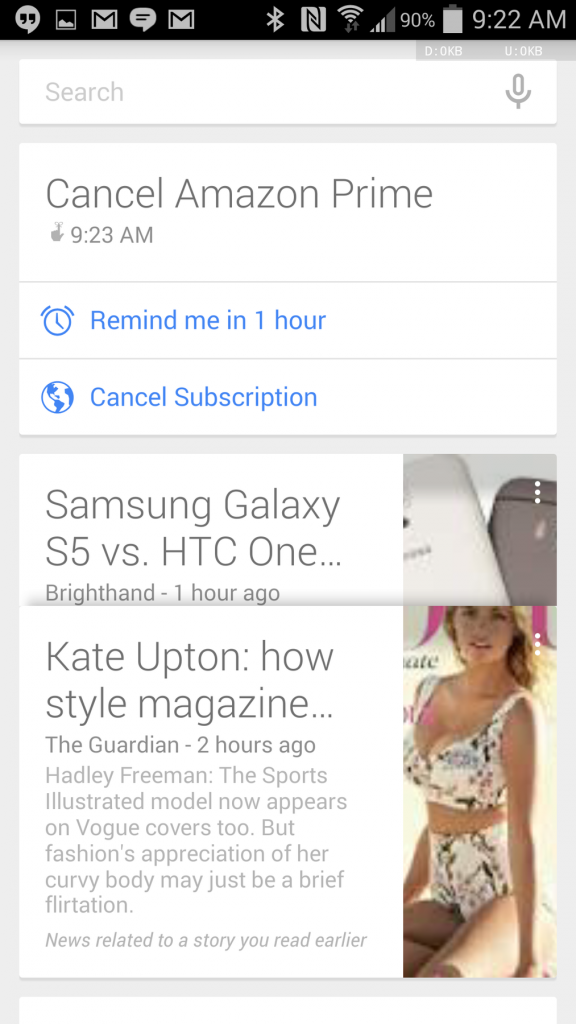 Google Now subscription