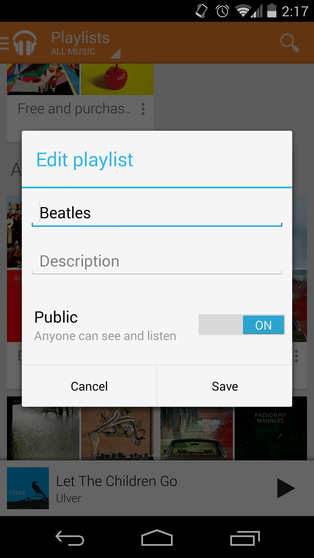 google play music playlist share