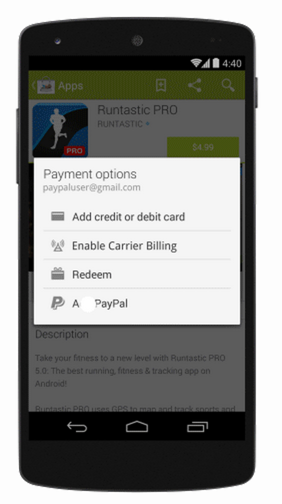 how to use paypal on play store