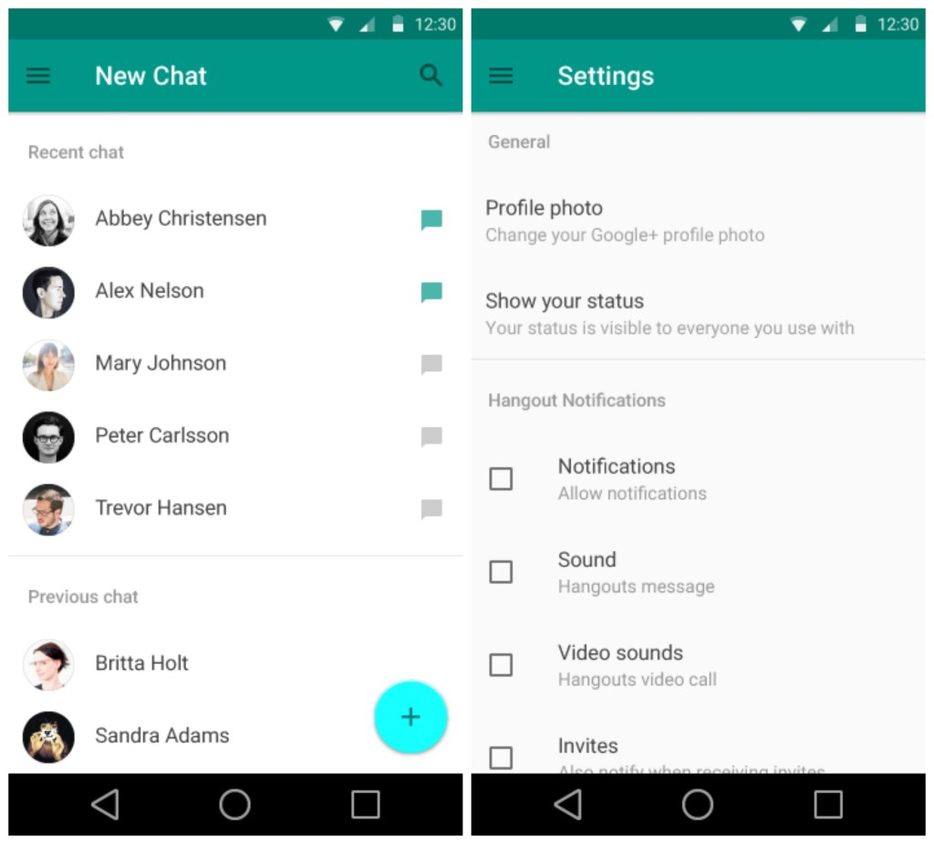 Android L Hangouts