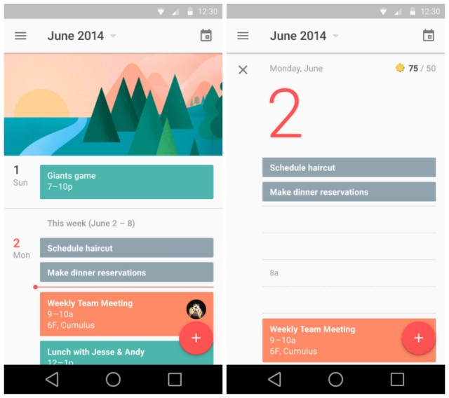 Google Calendar Agenda Android L