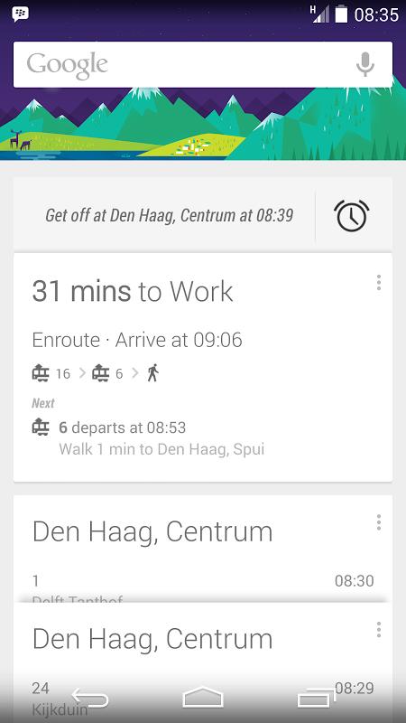 Google Now openbaar vervoer