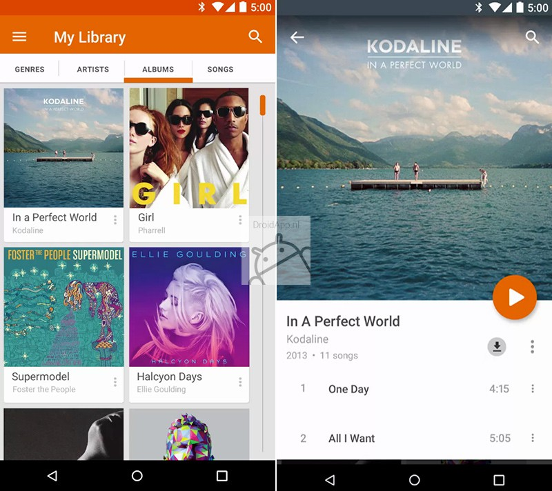 Google Play Music Material Design
