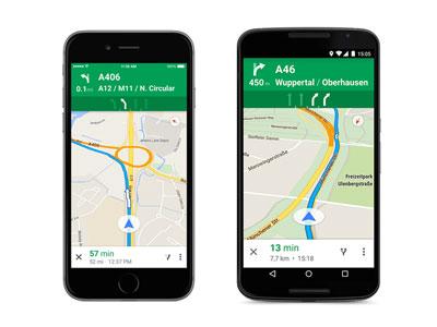Google Maps rijstrook