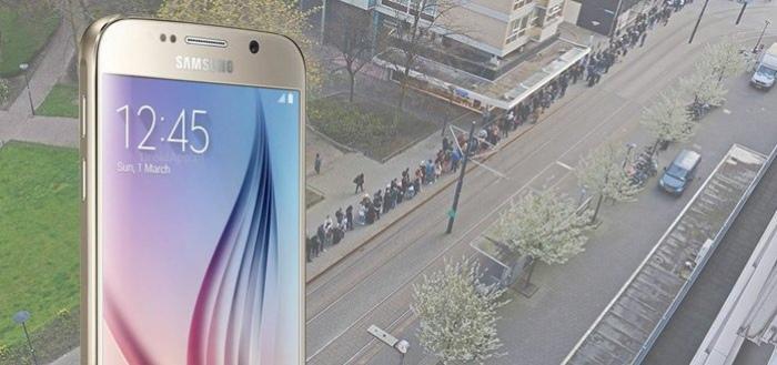 Enorme rijen voor eerste verkoopdag Galaxy S6