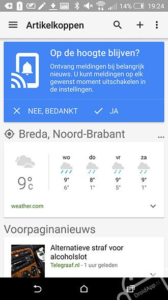 Google Nieuws en Weer