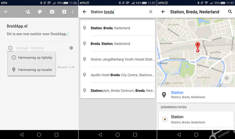 Google Keep locatie