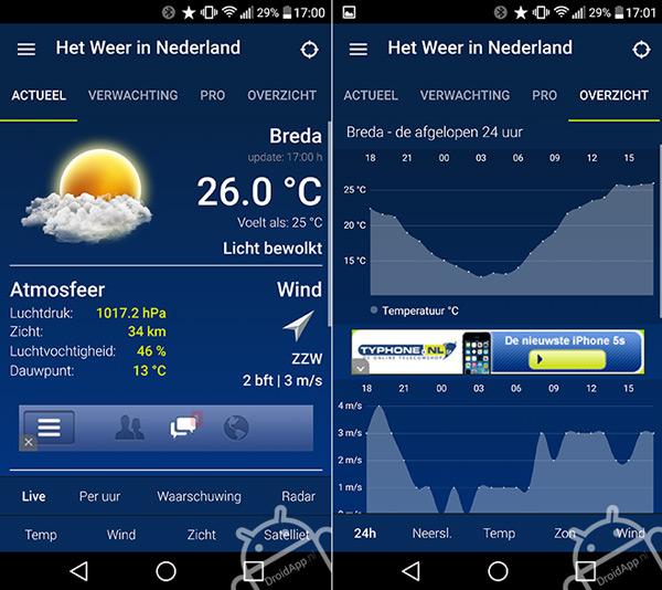 Het Weer in Nederland app