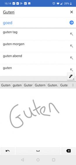 Google Translate handschriftherkenning