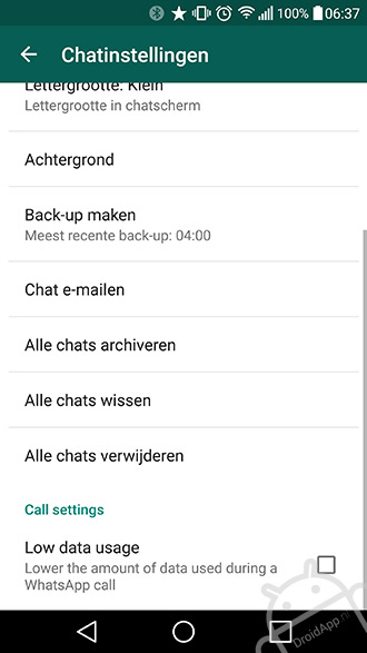 data usage whatsapp belfunctie