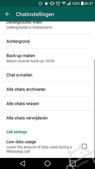 data usage whatsapp belfunctie