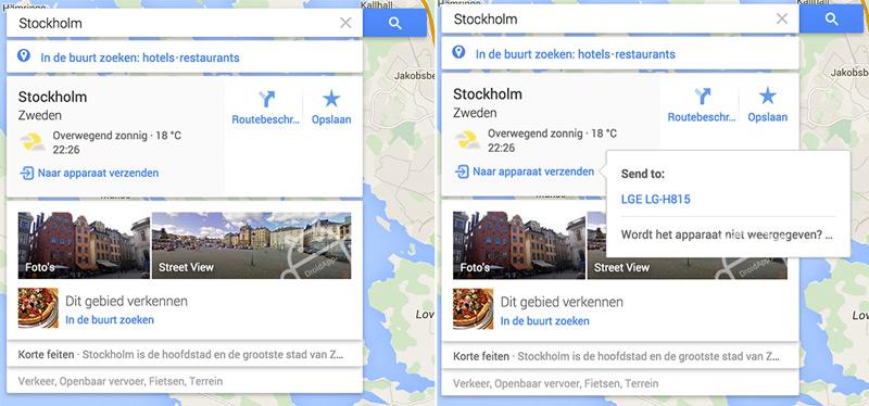 Google Maps apparaat verzenden