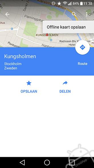 Google Maps offline opslaan