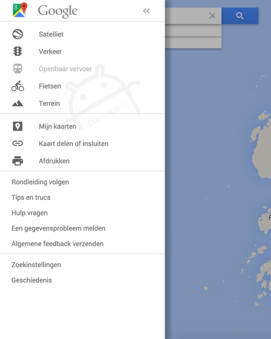 Google Maps hamburger-menu