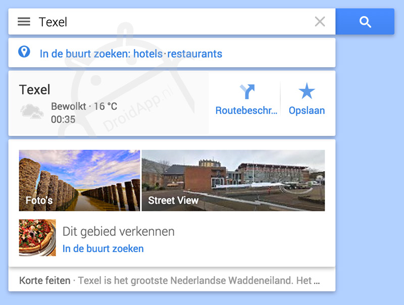 Google Maps hamburger-menu