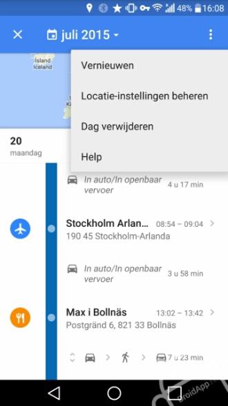 Google Maps locatiegeschiedenis