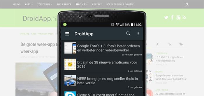 DroidApp App 1.1: meer personaliseren en zoekfunctie