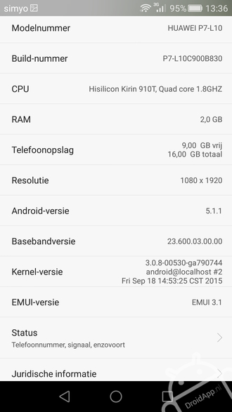 Huawei Ascend P7 Android 5.1.1 Lollipop