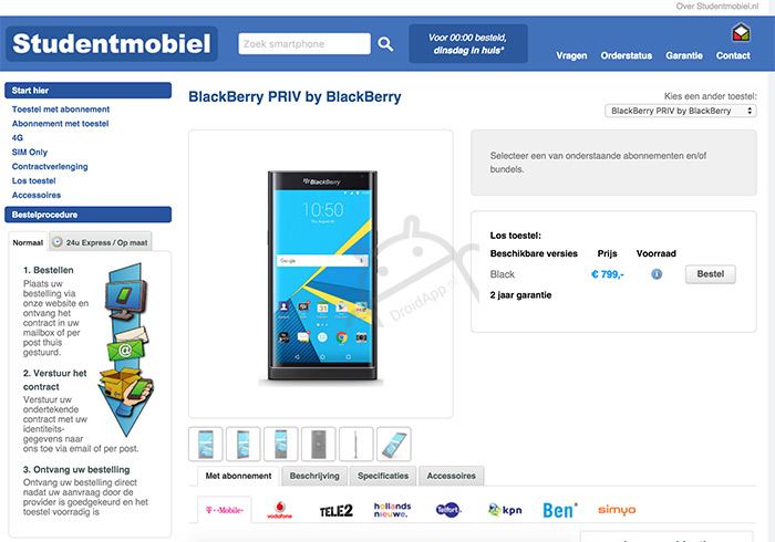 BlackBerry Priv studentmobiel