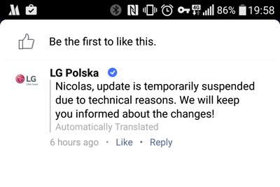 LG G4 update Polen