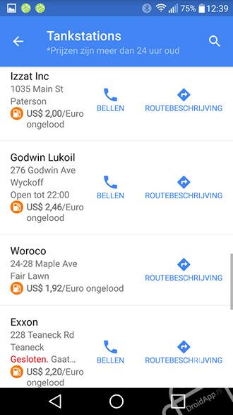 Google Maps 9.16 tankstation