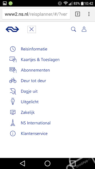 NS mobiele website