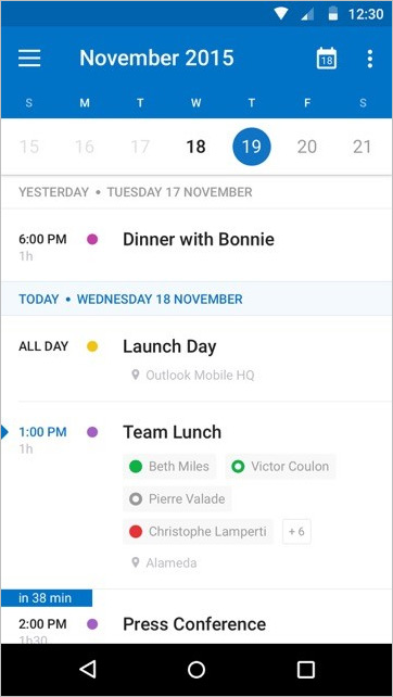 Outlook Android Agenda