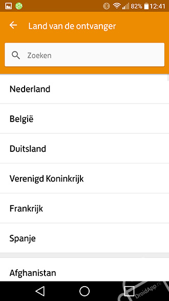 PostNL app internationaal