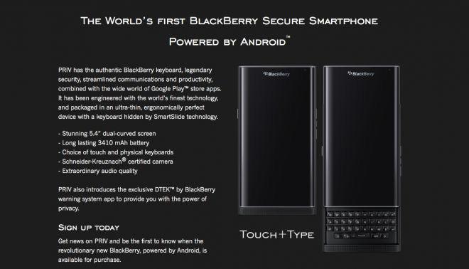 BlackBerry Priv pre-registratie
