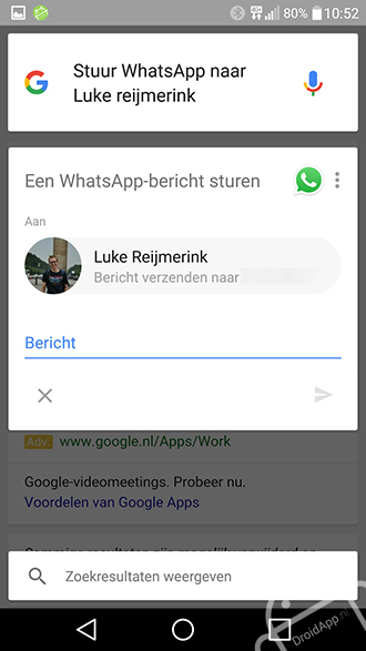 Google Now WhatsApp