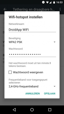 Android hotspot instellingen