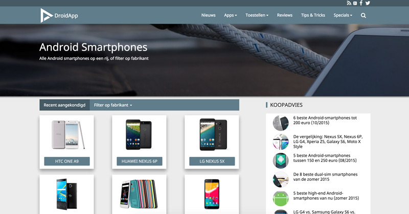 DroidApp smartphones