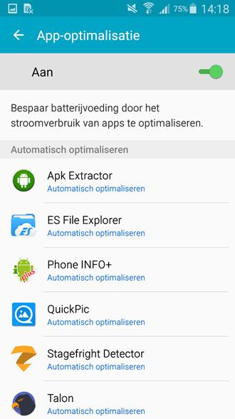 Galaxy Note 4 app-optimalisatie