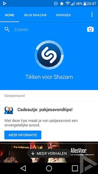 Shazam zoekfunctie