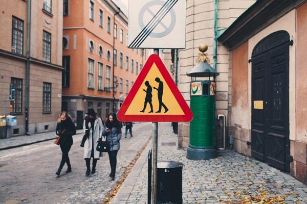 Smartphone Stockholm verkeersbord
