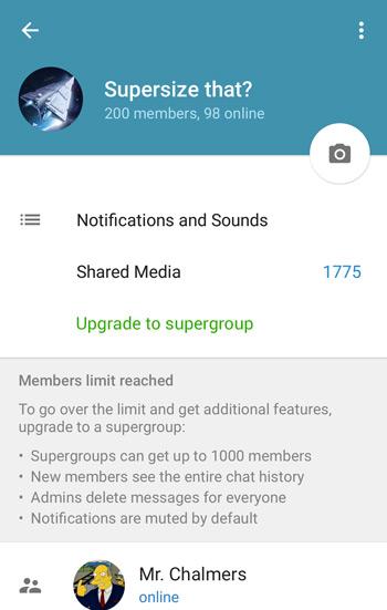Telegram supergroep