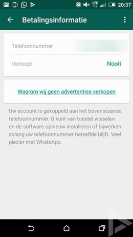 WhatsApp abonnement verlengd