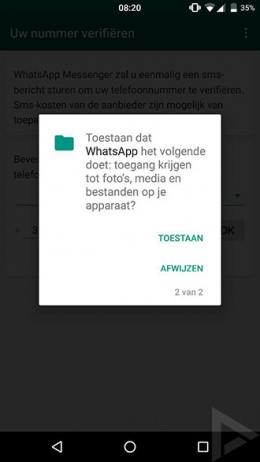 WhatsApp permissies Marshmallow