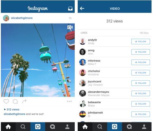 Instagram video view count