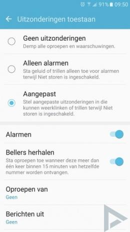 Samsung Galaxy S7 niet storen