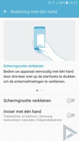 Samsung Galaxy S7 bediening een hand