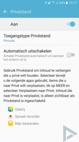 Samsung Galaxy S7 privéstand