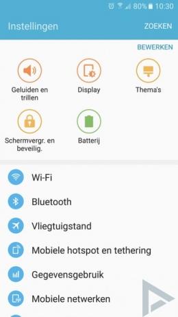 Samsung Galaxy S7 Instellingen