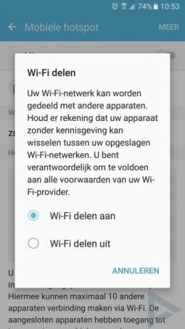 Samsung Galaxy S7 wifi delen hotspot