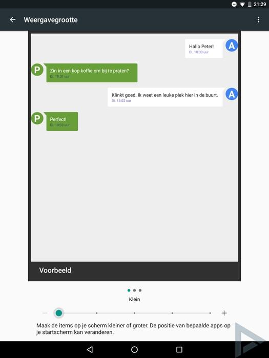 Android N weergavegrootte