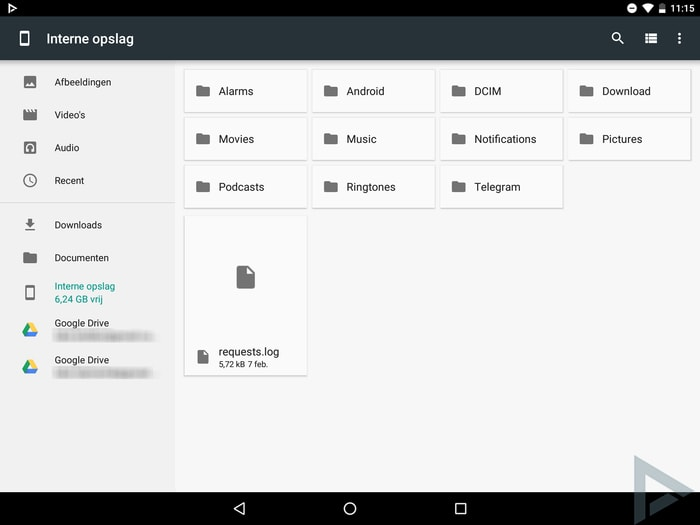 Android N bestandsbeheerder