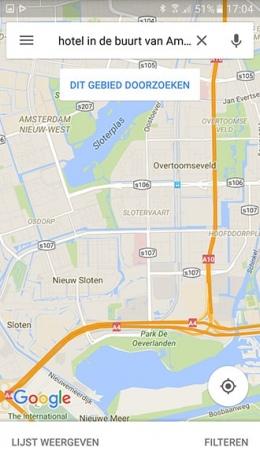 Google Maps gebied doorzoeken
