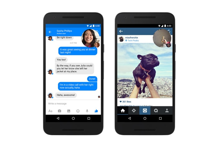 Facebook Messenger video chat heads