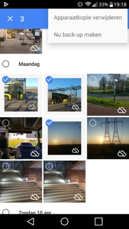 Google Foto's back-up